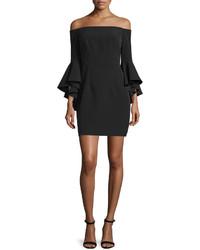 Milly Selena Short Italian Cady Dress Wcascade Sleeves Black