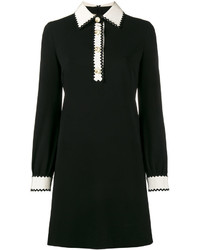 Gucci Zig Zag Trimmed Long Sleeve Dress