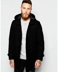 Asos Brand Wool Mix Duffle Coat In Black