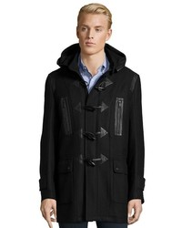 Andrew Marc Black Textured Plaid Wool Pierce Toggle Coat