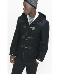 Black Wool Blend Duffle Coat