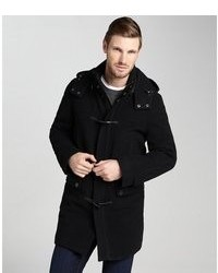 Cole Haan Camel Wool Blend Hooded Toggle Coat