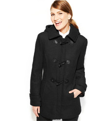 Calvin Klein Faux Leather Trim Toggle Wool Blend Coat