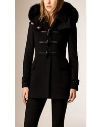 Burberry Fox Fur Trim Wool Duffle Coat
