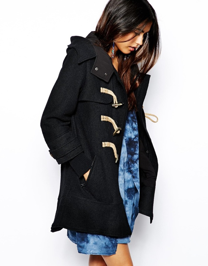 Free People Boiled Wool Mix Duffle Coat Black   Where to buy & how ...