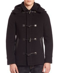 The Kooples Lambskin Wool Blend Hooded Duffle Coat