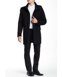 Cole Haan Melton Faux Leather Trim Duffle Coat