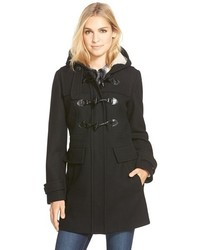 Wool blend duffle coat with faux shearling lined hood medium 369728