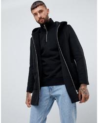 ASOS DESIGN Wool Mix Hooded Overcoat In Black