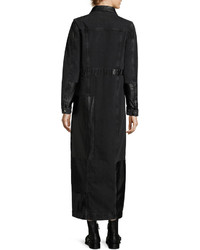 MCQ Alexander Ueen Recycled Denim Button Front Long Sleeve Duster Coat