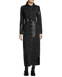 Alexander ueen recycled denim button front long sleeve duster coat medium 4948779
