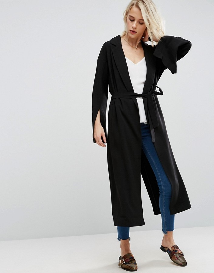 Asos Duster Coat With Vent Sleeve