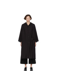 Ys Black Hooded Haori Coat