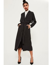 Missguided Black Pinstripe Tie Waist Maxi Duster Jacket