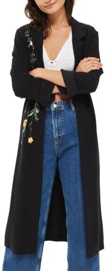 Topshop Floral Embroidered Duster Coat