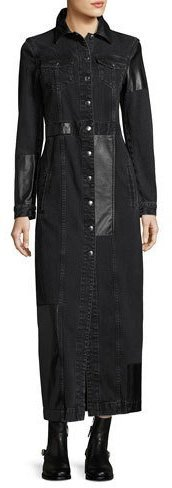 McQ by Alexander McQueen Mcq Alexander Mcqueen Recycled Denim Button Front Long Sleeve Duster Coat