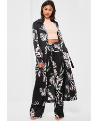 Missguided Black Floral Print Zip Detail Duster Coat