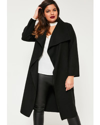 Missguided Plus Size Black Waterfall Oversized Duster Coat