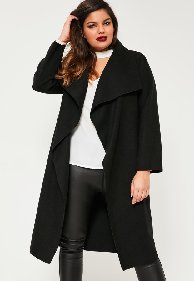 82e0bfb09c7 ... Missguided Plus Size Black Waterfall Oversized Duster Coat