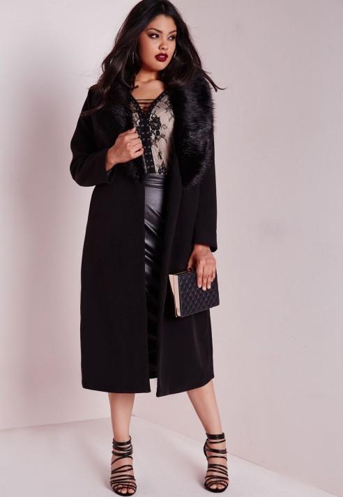 ... Missguided Plus Size Faux Fur Trim Duster Coat Black ...