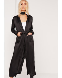 Missguided Satin Belted Duster Coat Black