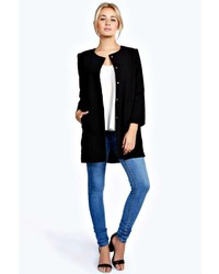 Boohoo Olivia Collarless Button Duster Coat