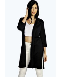 Boohoo Tara Side Split Scuba Duster Coat