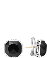 Lagos 14mm Sterling Silver Onyx Rocks Clip On Earrings