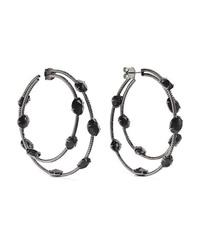 Ofira 18 Karat Blackened White Gold Spinel And Diamond Hoop Earrings