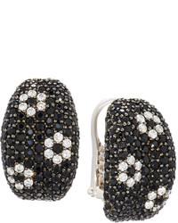 Roberto Coin 18k Black Sapphire Diamond Flower Half Hoop Earrings
