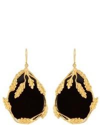 Aurelie Bidermann Aurlie Bidermann Francoise Onyx And Gold Plated Earrings