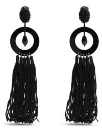 Oscar de la Renta Bead Embellished Tassel Earrings