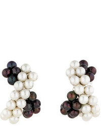 Verdura Black And White Pearl Earrings