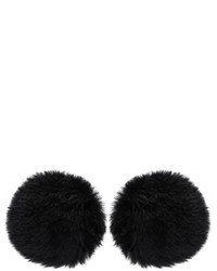 Balenciaga Black Fur Button Earrings