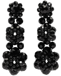 Simone Rocha Black Perspex Three Tier Drop Earrings