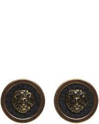 Versus Brass Lion Stud Earrings