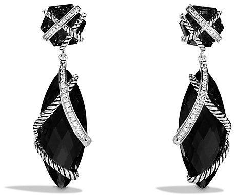David Yurman Cable Wrap Double Drop Earrings With Black Onyx And Diamonds