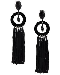 Oscar de la Renta Circle Drop Tassel Earrings