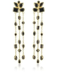Melinda Maria Cluster Duster Gold With Black Earrings