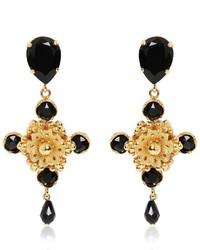 Dolce & Gabbana Cross Black Swarovski Clip On Earrings