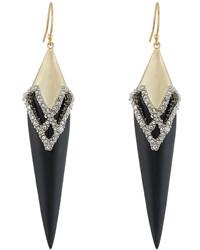 Alexis Bittar Crystal Encrusted Lattice Lace Drop Earrings Black