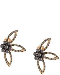 Oscar de la Renta Crystal Flower Earrings