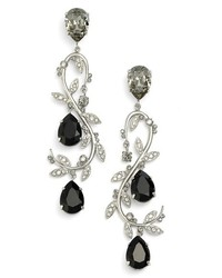 Oscar de la Renta Crystal Swirl Drop Earrings