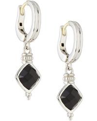 Judith Ripka Cushion Cut Black Onyx Drop Earrings