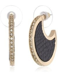 Anne Klein Dalton Black Gold Tone Black Leather Hoop Earrings