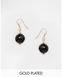 Mirabelle Faceted Onyx Gold Plated Drop Earrings