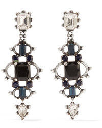 Dannijo Gabriel Oxidized Silver Plated Swarovski Crystal Earrings Black