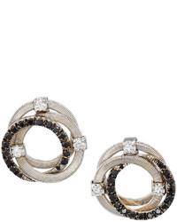 Marco Bicego Goa 18k Pave Black Diamond Interlocking Button Earrings