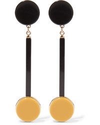 Marni Gold Plated Acrylic Clip Earrings Black