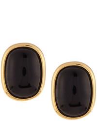 Nakamol Golden Oval Agate Stud Earrings Black